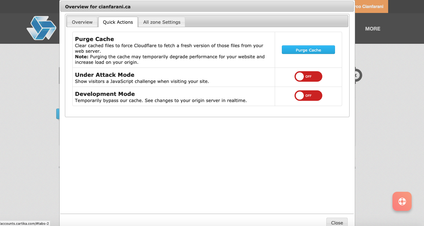 Cloudflare platform integrated with Cartika